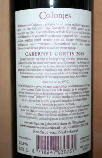 Wijnhoeve De Colonjes Cabernet Cortis 2009 ruglabel