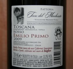 Emilio Primo 2009 backlabel