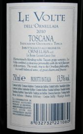 Le Volte Dell 'Ornellaia 2010 backlabel