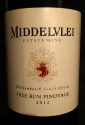 Middelvlei 2012, Free-run Pinotage, Stellenbosch, Zuid Afrika