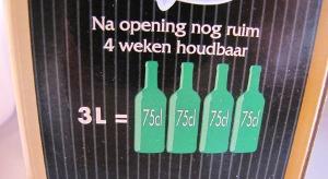 3 Liter bag in box wijnen is de hoeveelheid van 4 gewone wijnflessen