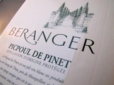 Beranger 2013, Picpoul de Pinet AOP, Frankrijk