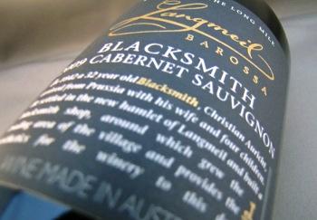 langmeil, barossa, blacksmith 2009, cabernet sauvignon