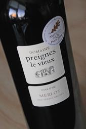 """Domaine Preignes le Vieux Merlot """"des Terres Brunes"""" 2013"""