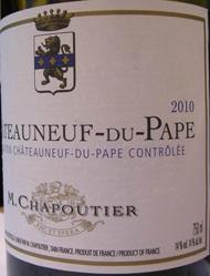 """Chateauneuf du Pape M. Chapoutier """" Les Incontournables"""" 2010"""