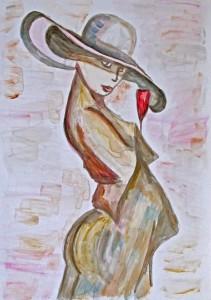 Vrouw staat op een feestje met een glas roze Champagne