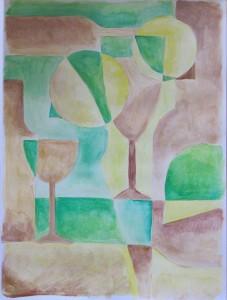 abstracte vorm van wijn 30x40 cm
