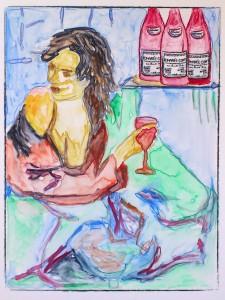 vrouw met 3 flessen romanée conti 17x22 cm