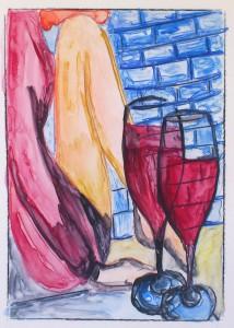zittende vrouw met 2 glazen rode wijn 13x18,5 cm