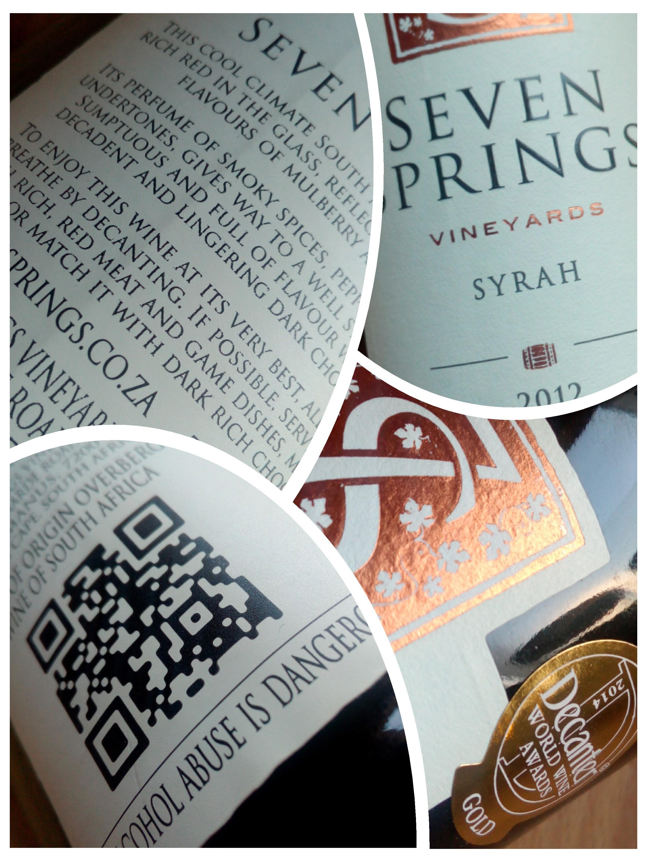 Seven Springs 2012, Syrah, Hemel en Aarde Vallei, Zuid Afrika detail