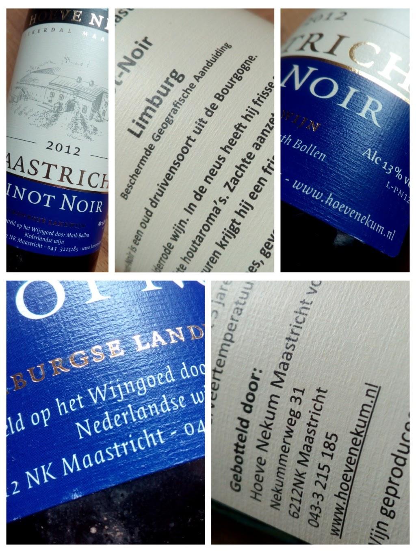 Hoeve Nekum 2012, Jekerdal Maastricht, Pinot Noir, Nederland detail