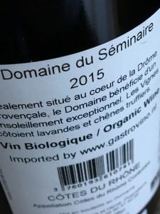 Domaine du Séminaire Les Saffres 2015 B
