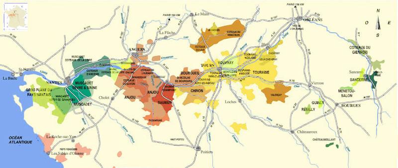 Loire vallei is één van de mooiste wijnstreken van Frankrijk kaart