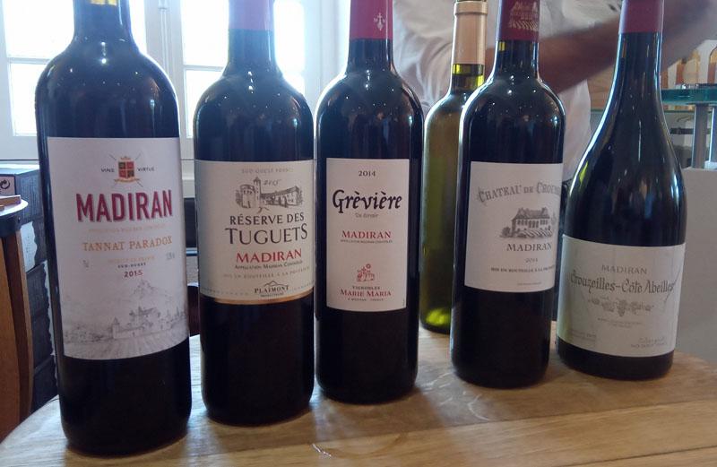Een deel van de geproefde wijnen uit Madiran