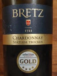 Bretz Chardonnay Spätlese Trocken 2016, Prädikatswein Rheinhessen, Duitsland