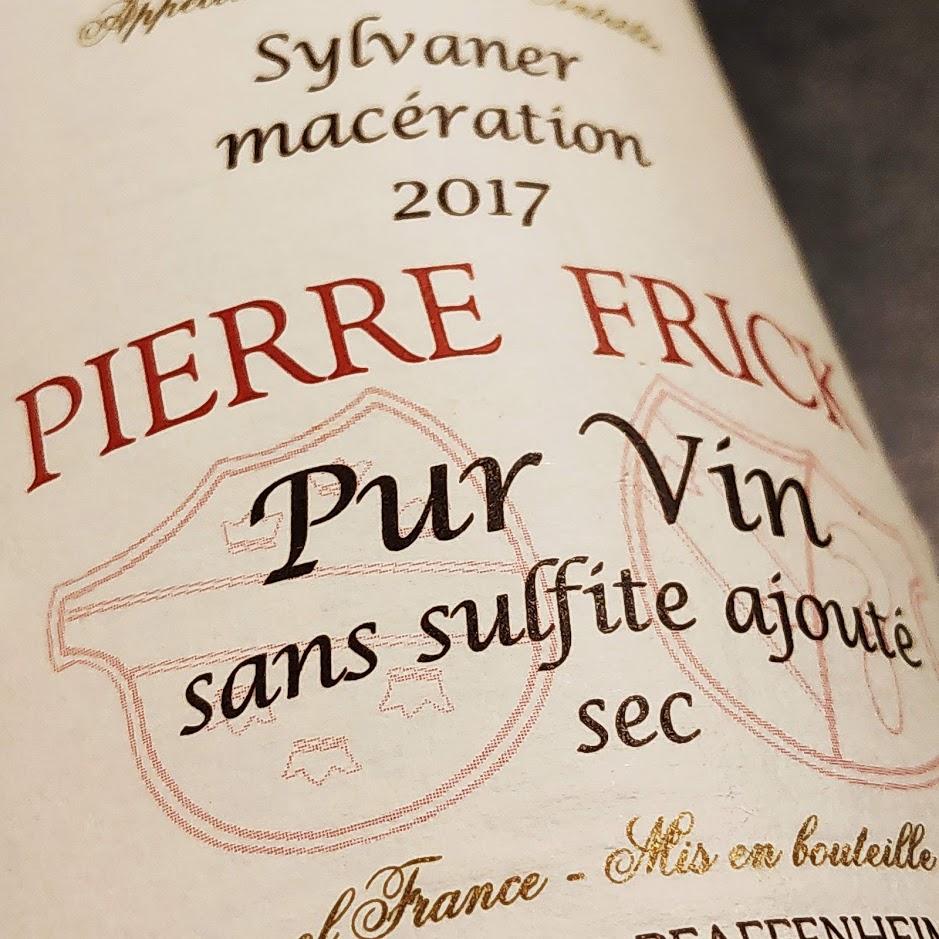 Witte wijn zonder sulfiet van Frick, een Sylvaner uit de Elzas, Frankrijk