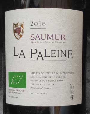 Een biologische rode wijn uit Saumur, La Paleine