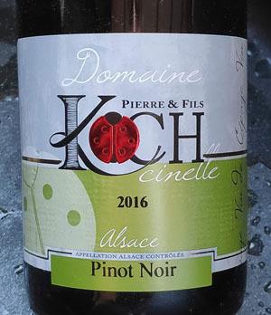 Elzas Pinot Noir van Koch Vignerons uit Nothalten in de Elzas