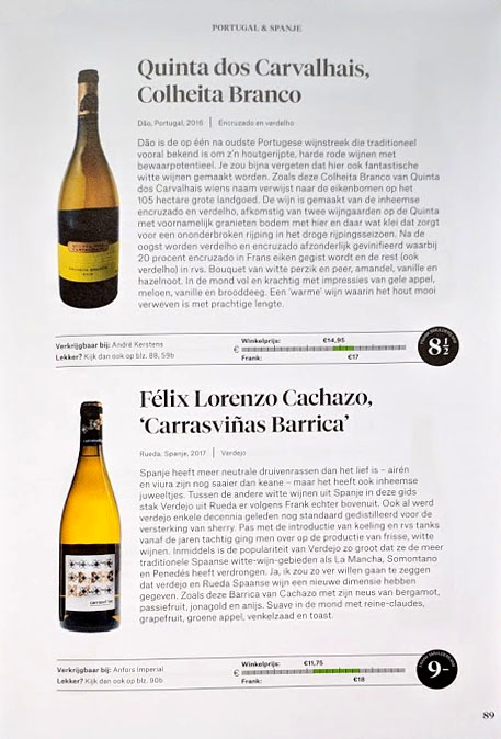 Een voorbeeld hoe het binnenwerk van het boek De Wijngids, 400 beste wijnen onder de 25 euro eruit ziet.