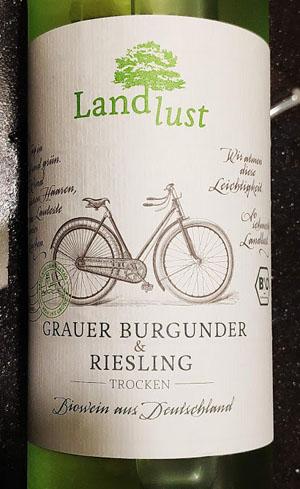 Landlust Grauer Burgunder und Riesling, een biologische wijn uit Rheinhessen